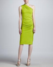 Oneshoulder Jersey Sheath Dress Lime - Lyst Business Fashion 381216aa8