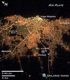 Satellite image of Buenos Aires at night....thanks NASA