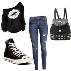 Casual? by amberekard on Polyvore featuring polyvore, fashion, style, H&M and Converse
