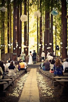 Outdoor Wedding Ceremony- I really like the hanging puff balls from the trees:)
