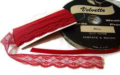 Vintage Trim Red Velvet Ribbon Red Lace For by GlimmersinTime, $14.00