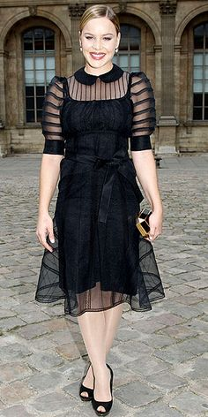 Abbie Cornish goes retro in a sheer Louis Vuitton dress with a Peter Pan collar