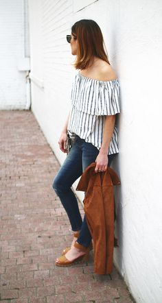 Take a cue from Gaby Burger and add a little retro flair to your summer style with our cool girl inspired flowy off the shoulder top | Banana Republic