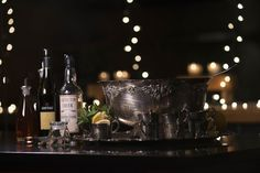 Classic punch Set-up with silver plated punch bowl. Matching punch cups are used to display garnishes