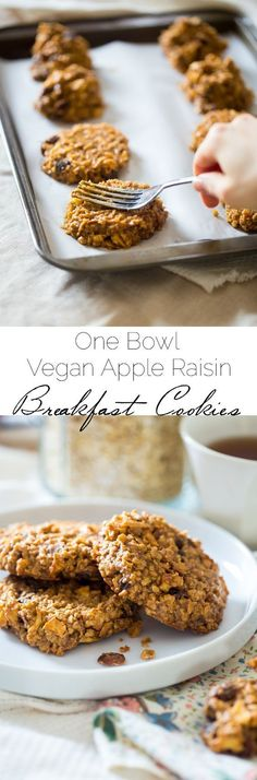 Apple Raisin Breakfast Cookie s - These easy, one-bowl breakfast cookies are made with oatmeal, apples, raisins and almond butter for a healthy, vegan & gluten free breakfast. They're perfect for busy mornings!   Foodfaithfitness.com   @FoodFaithFit #nationaloatmealcookieday