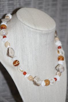 Beautiful Mother of Pearl and Coral Chunky Beaded Necklace