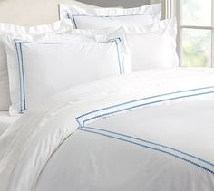 Pearl Embroidered 280-Thread-Count Duvet Cover, King/Cal. King, French Blue