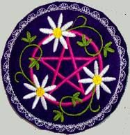 machine embroidery hair barrette wicca pagan by NittyGrittyThreads, $10.50