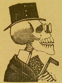 Jose Guadalupe Posada. Monografia; las Obras de Jose Guadalupe Posada. n.c. : n.p., 1930. Page 179. Skeleton portrait of dignified, European gentleman