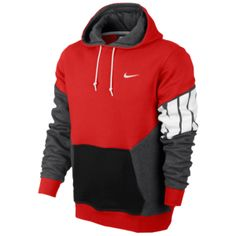 Nike Club Colorblock Pull Over Hoody - Men's - Challenge Red/Charcoal Heather/Black/White