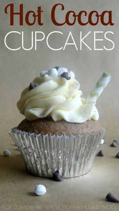 Hot Cocoa Cupcakes with Vanilla Whipped Cream Frosting. So satisfying, and just like a mug of hot cocoa.