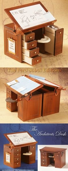Created as an homage to the day he received career advice from the legendary architect Frank Lloyd Wright, this 1/12th scale miniature Architects Desk comes from the Workshop Wizard, The Ferd Sobol Editions. Read about this memorable conversation: thesoboleditions....