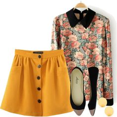 Floral top and mustard yellow skirt.