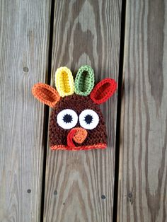 Turkey Hat Crochet 0 to 6 months - Thanksgiving - Christmas - holiday - newborn photography prop. $18.95, via Etsy.