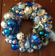 Icy Blue and White by RetroWreaths on Etsy, $175.00