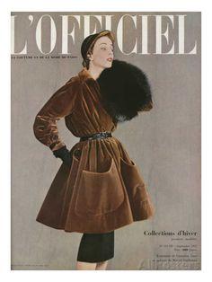 L'Officiel, September 1950 - Set of Christian Dior in Velvet by Marcel Guillemin Fashion Magazine Cover, Fashion Cover, Magazine Covers, Christian Dior Vintage, 1950s Style, Vintage Outfits, Vintage Dresses, Marcel, Best Fashion Magazines