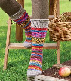 Crochet colourwork socks - paid pattern