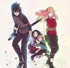 Papa Sasuke and Mama Sakura protecting their kids ❤️❤️❤️
