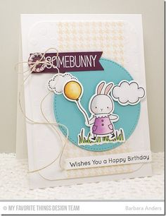 Somebunny stamp set and Die-namics, Sunflower Sweetheart stamp set and Die-namics, Houndstooth Background, Fishtail Flags STAX Die-namics, Stitched Circle STAX Die-namics, Polka Dot Stencil - Barbara Anders #mftstamps