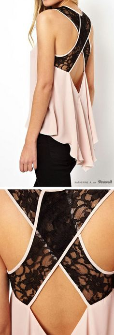 Light Pink and Black Lace X-Back Tank Top
