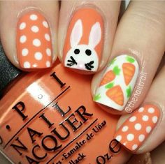 Easter Nails - Bunny, Eggs and Chick Nail Art Designs - Cute easter bunny nails - Eggs and baby chick nail art - Polka dot bunny nails - Colorful eggs and wh. Easter Nail Designs, Easter Nail Art, Diy Nail Designs, Spring Nail Art, Spring Nails, Nail Art 2015, Nailart Glitter, Bunny Nails, Nail Lacquer