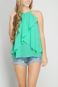 SLEEVELESS TOP WITH LAYERED RUFFLES IN A BEAUTIFUL SHADE OF JADE.  LOVE WITH GOLD -- SHOES BRACELETS AND MORE! Layered Ruffle Top  by She  Sky. Clothing - Tops - Sleeveless Ohio