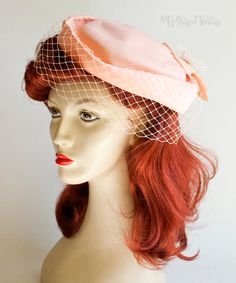 Vintage 1970s/80s Peach Coral Pill Box Hat by MARIDA, Flower & Veil from UpStagedVintage on Etsy