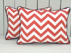 Coral outdoor pillow cover, chevron lumbar cover 16x12, chevron outdoor pillow, coral outdoor lumbar, coral oblong pillow with blue piping $26
