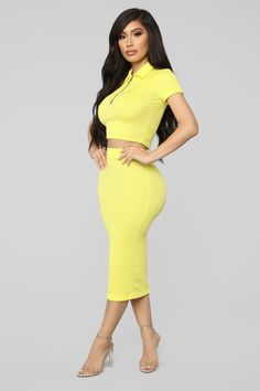 Available In Neon Pink And YellowRibbed Skirt SetShort Sleeve TopCroppedCollaredHalf ZipMidi SkirtElastic Polyester SpandexMade in USA Satin Dresses, Sexy Dresses, Cute Dresses, Fashion Dresses, Dope Outfits, Chic Outfits, Trendy Outfits, Pretty White Girls, Types Of Fashion Styles
