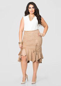 Micro Suede Uneven Hem curvy girl Skirt