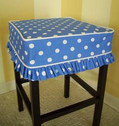 SALE only Square Barstool Slipcover in cotton Premier Prints Blue Dots fabric Contrasting white canvas welt 4 side band and 2