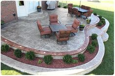 Stamped Concrete Patios Rochester, MI-Biondo Cement, I love the in between planter ideas~ Concrete Patios, Concrete Patio Designs, Cement Patio, Backyard Patio Designs, Brick Patios, Patio Ideas, Backyard Ideas, Cement House, Sloped Backyard