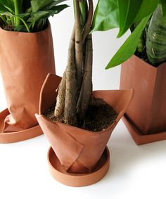 Terra Cotta Planter disguised as Crumpled Paper #design #decor
