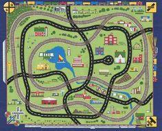 Green Rug Choo Choo You Play Mat Train Tracks Car Road Map Fabric CANVAS eBay