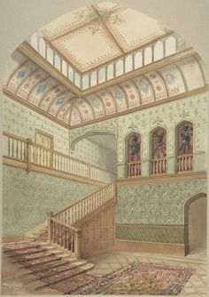 John Gregory Crace | Interior showing Staircase and Skylight | The Metropolitan Museum of Art