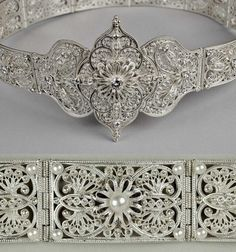 Ossetian, circa Silver filigree work and pearls. I Love Jewelry, Ethnic Jewelry, Indian Jewelry, Jewelry Art, Jewelry Making, Silver Belts, Silver Jewelry, Designs For Dresses, Fashion Now