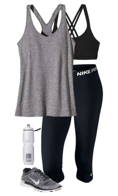 """workout outfit"" by sassy-and-southern ❤ liked on Polyvore featuring Patagonia, NIKE, Victoria's Secret, women's clothing, women's fashion, women, female, woman, misses and juniors"