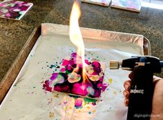 How to Make DIY Alcohol Ink Coasters with Fire Using the Bernzomatic - This is a fun craft you can do with your older kids under adult supervision. Alcohol Ink Tiles, Alcohol Ink Glass, Alcohol Ink Crafts, Alcohol Ink Painting, Buy Alcohol, How To Make Diy, Crafts To Make, Fun Crafts, Mason Jar Crafts