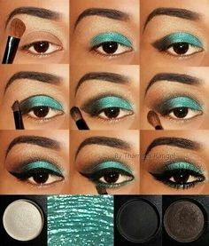 Easy step by step instructions - Eye makeup - Eye Makeup Steps, Blue Eye Makeup, Makeup For Brown Eyes, Skin Makeup, Eyeshadow Makeup, Glitter Makeup, Beauty Makeup Tips, Makeup Goals, Pinterest Makeup