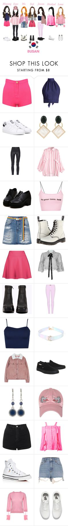 """Fanmeeting In Busan"" by myu7official ❤ liked on Polyvore featuring CECILIE Copenhagen, adidas Originals, Marni, Yves Saint Laurent, Dr. Martens, RED Valentino, Costarellos, Jeffrey Campbell, 7 For All Mankind and WearAll"