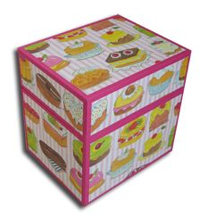 Box with pastries-paper around Pastries, Decorative Boxes, Paper, Books, Handmade, Home Decor, Livros, Hand Made, Tarts