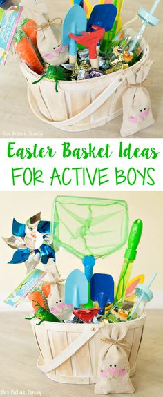 Easter Basket Ideas for Active Boys Easter basket ideas Easter Basket for Active Boys - Our Potluck Family Easter Baskets For Toddlers, Boys Easter Basket, Easter Crafts For Kids, Easter Stuff, Easter Party, Easter Gift, Boy Diy Crafts, Backyard Toys, Diy Ostern