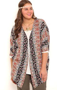 Plus Size Floral Boho Print Kimono with Elbow Length Sleeves