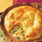 Easy Turkey Pot Pie. Making this in a few days with leftovers. Looks super quick and easy! Based on reviews, add some potatoes, garlic, salt, pepper, and maybe an extra 1/2-1 full can of cream of chicken soup. Potatoes and extra soup make it a little creamier and the seasoning adds extra umph!