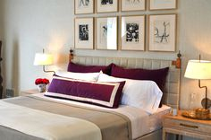 janet paik, bedroom, purple velvet pillows, gold frames, pictures, white walls, reclaimed wood, bouquet, nightstand, lamp