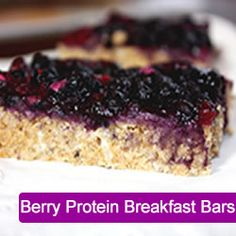 Berry Breakfast Bars    Makes 12 bars    Bars:  2 cups quick oats  3 x 30 gram scoops (3/4 cup) whey protein, vanilla (If you'd like to omit protein, just add an extra 2/3 cup – 3/4 cup oats)  1/3 cup stevia baking formula (or 12-13 packets)  1/2 cup peanut butter  1/4 cup unsweetened coconut  1/2 cup water (may need an extra 1 Tbsp)