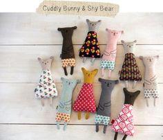 今日、アメリカへむけて布雑貨が旅立ちました。{Cuddly Bunny & Shy Bear softie toys}: