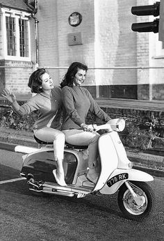 thekameraclub: June & Eve - Two Girls On a Lambretta Scooter! - June Palmer & Eve Eden