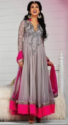 Gray Georgette Long Length Anarkali by Sonal Chauhan
