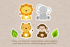 Safari Animal Cut Outs / Safari Baby Shower di LittlePrintsParties